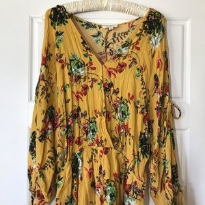 Umgee Mustard Yellow Floral Romper Large